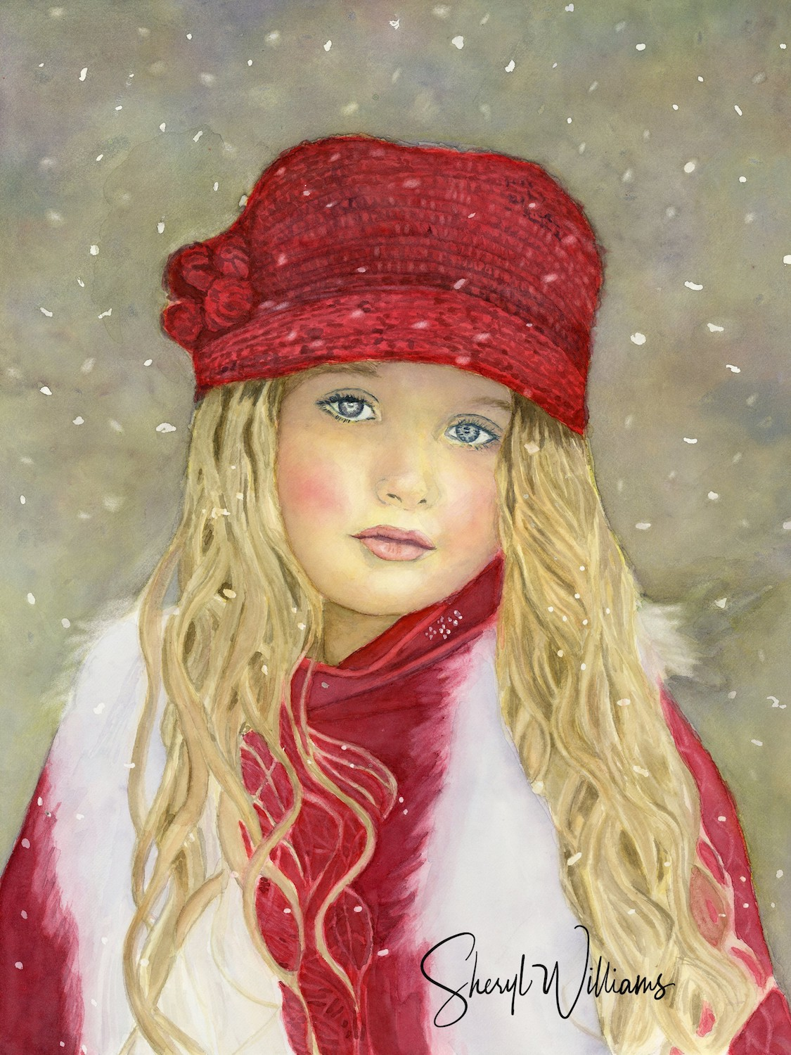 Red Hat Girl In The Snow net size